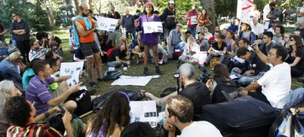 Activist associated with the Occupy Wall Street movement participate in a general assembly during a gathering of the movement in Washington Square park, 09/15/12. (photo: Mary Altaffer/AP)