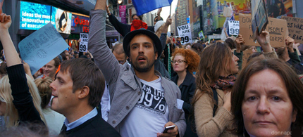This photo from last November shows Occupiers and Supporters in Time Square. (photo: Donna Pallotta)