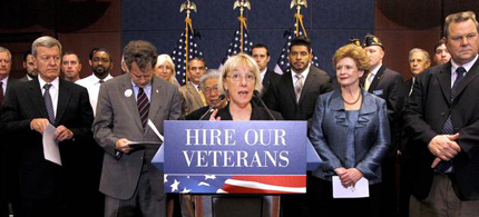 Sen. Patty Murray, D-Wash., speaks about the veterans jobs bill killed by Republicans in the Senate. (photo: Haraz N. Ghanbari/AP)