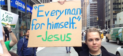 Occupy protester Brittany Anderson sports her sign. (photo: Gothamist)