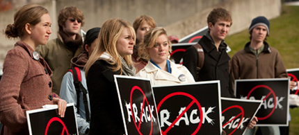 Cornell University students protest hydrofracking on Ho Plaza. (photo: Jason Koski/University Photography)