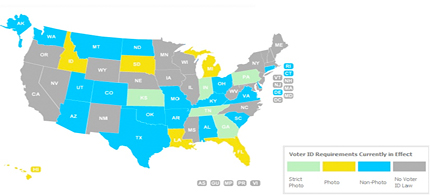 The National Conference of State Legislatures has put up a state by state map allowing voters to learn what kind of ID they will be required to have to vote in November. (photo: National Conference of State Legislatures)
