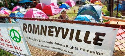 During the Republican national convention, protesters set up a camp dubbed Romneyville after the infamous Hoovervilles of the Great Depression era. (photo: Joe Skipper/Reuters)