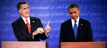 Mitt Romney and President Obama at the first presidential debate of 2012. (photo: Reuters/Jim Bourg/AP/Eric Gay)