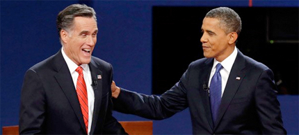 Republican presidential nominee Mitt Romney and President Barack Obama after the first presidential debate at the University of Denver, Oct. 3, 2012, in Denver. (photo: Charlie Neibergall/AP)