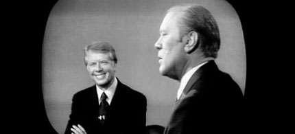 Jimmy Carter and Gerald Ford debate on Oct. 22, 1976, in Williamsburg, Va. (photo: AARP.org)