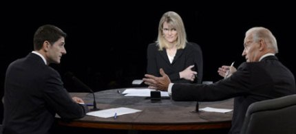 Martha Raddatz moderates the debate between Republican vice-presidential nominee Paul Ryan vice-president Joe Biden in Kentucky. (photo: Reuters)