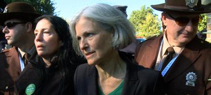 ill Stein and Cheri Honkala, the Green presidential and vice-presidential nominees, were forcibly prevented from entering the grounds of tonight's presidential debate organized by the Commission on Presidential Debates (CPD). (photo: Green Party)