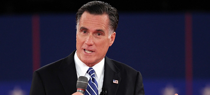 Mitt Romney during the second presidential debate at Hofstra University in Hempstead, New York. (photo: Spencer Platt/Getty Images)