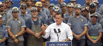 Mitt Romney holds a rally with coal miners in West Virginia. (photo: Reuters)