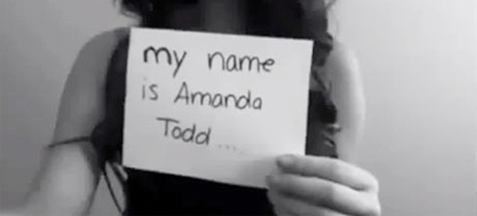 A YouTube image of Canadian teenager Amanda Todd, who reportedly killed herself as a result of bullying after a stalker posted nude images of her online. (photo: YouTube)