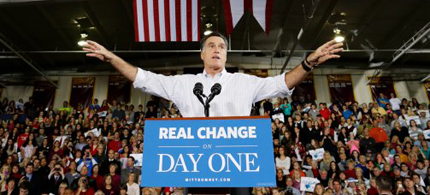 Mitt Romney at a campaign stop in Avon Lake, Ohio, on Monday, Oct. 29, 2012. (photo: Charles Dharapak/AP)
