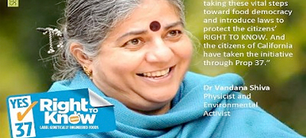 Vandana Shiva on Prop 37, GMOs and food sovereignty. (photo: uprisingradio.org)