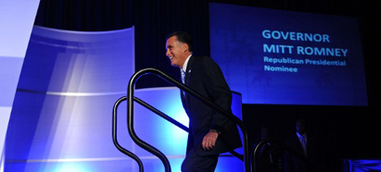 Mitt Romney addressing the US Hispanic Chamber of Commerce in Los Angeles, in September; but Latino voters are expected to favour Obama by a margin of at least 30 points. (photo: Nicholas Kamm/AFP/Getty Images)