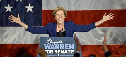 Elizabeth Warren has become first woman elected to the Massachusetts Senate. (photo: Reuters)