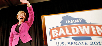 Tammy Baldwin, who became the first openly gay US senator, winning in Wisconsin. (photo: Andy Manis/AP)