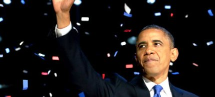 President Barack Obama during his victory speech. (photo: Guardian UK)
