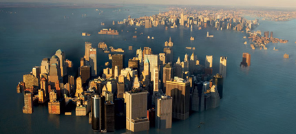 Unless greenhouse-gas emissions are curbed, warns James Hansen of NASA, global temperatures could climb 2 to 3 degrees Celsius by 2100. Such a rise would leave little of Manhattan but the skyscrapers.  (photo: Cameron Davidson; illustration: John Blackford)