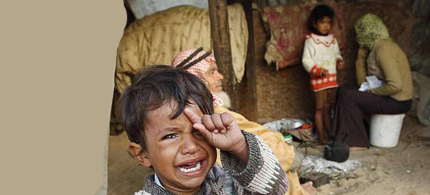 A young Boy Crying in Gaza with his family. (photo: Prisma UK)