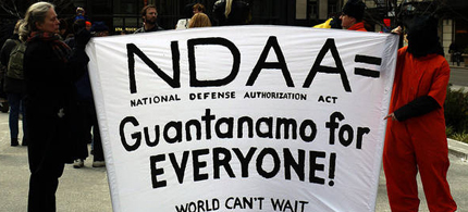 Gerstein: 'The White House threatened a veto of both the Senate and House versions of the NDAA before Feinstein's amendment was added to the legislation.' (photo: World Cant Wait)