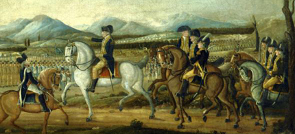 President George Washington, as Commander-in-Chief, leading a combined force of state militias against the Whiskey Rebellion in 1794. (photo: Consortium News)