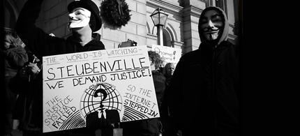 Activists from the online group Anonymous rally at the Jefferson County Courthouse in Steubenville, Ohio. (photo: monochromevisions)
