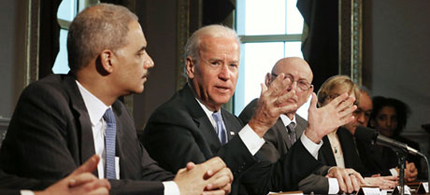 US Vice-President Joe Biden makes brief remarks to the press at the beginning of a meeting about gun control. (photo: Chip Somodevilla/Getty Images)