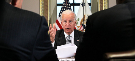 Vice President Joseph R. Biden Jr. meeting Friday with video game industry executives, a response to last month's massacre. (photo: Alex Wong/Getty Images)