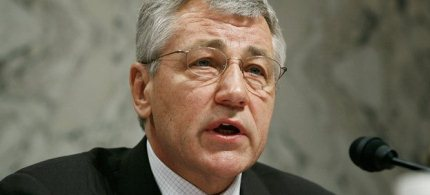 Senator Chuck Hagel at a hearing on Iran. (photo: Joshua Roberts/Getty Images)