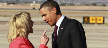 Arizona Governor Jan Brewer is now going to authorize Arizona to participate in Obamacare. (photo: Hazar N. Ghanbari/AP)