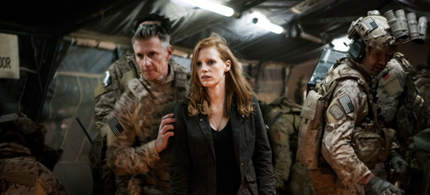Christopher Stanley, Jessica Chastain and Alex Corbet Burcher in Zero Dark Thirty. (photo: Columbia Pictures)