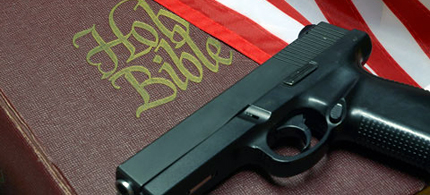 Gun rights advocates believe they have God given right to guns. (photo: religion link)