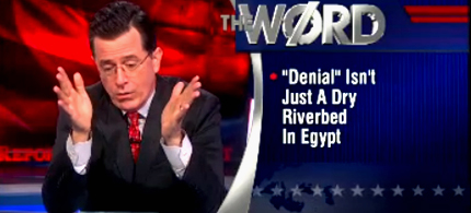 Stephen Colbert attacks the climate change deniers. (photo: Comedy Central)