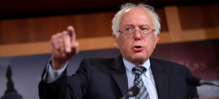 Sen. Bernie Sanders is calling for a Robin Hood tax. (photo: Kevin Dietsch/UPI/Newscom)