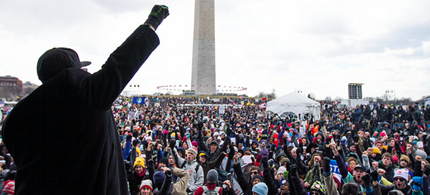 Reverend Lennox Yearwood of the Hip Hop Caucus on stage at the 'Forward on Climate Rally' in Washington DC. (photo: Shadia Fayne Wood/Project Survival Media)