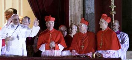 CNewly elected Pope Francis, Cardinal Jorge Mario Bergoglio, appears on the balcony of St. Peter's Basilica, 03/13/13. (photo: Max Rossi/Reuters)