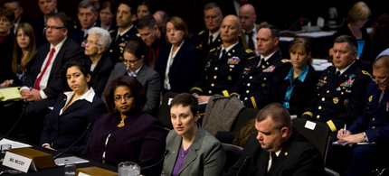Witnesses at a Senate panel investigating sexual assault in the military. (photo: Christopher Gregory/NYT)