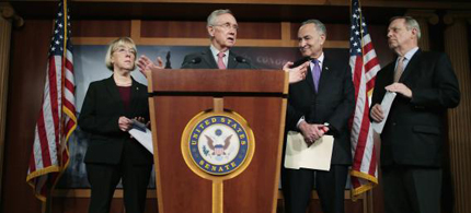 Senate Budget Committee Chair Patty Murray (D-WA), Senate Majority Leader Harry Reid (D-NV), U.S. Sen. Charles Schumer (D-NY) and Senate Majority Whip Richard Durbin (D-IL) hold a news conference at the U.S. Capitol on the eve of the budget sequester February 28, 2013 in Washington, DC. (Photo: Chip Somodevilla/Getty Images)