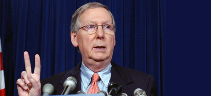 Senate Minority Leader Mitch McConnell of Kentucky gestures during a news conference on Capitol Hill in Washington, Friday, May 25, 2007. (photo: Dennis Cook/AP)