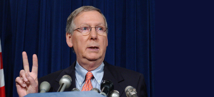 Mitch McConnell made up the terrorists motives just like Bush did for 9/11. (photo: AP)