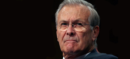 Donald Rumsfeld was one of the Neocons who supported Chechnya's fight against Russia. (photo: Boston Globe)