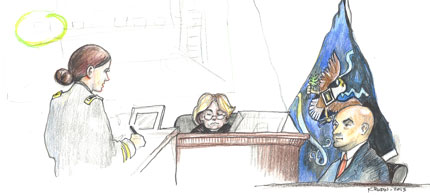 US Army evidence technician Thomas Smith testifies at the court-martial of Pfc. Bradley Manning. (art: Kay Rudin/RSN)