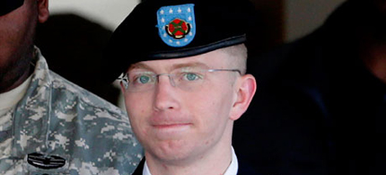 Bradley Manning is escorted out of a courthouse in Fort Meade, Maryland.  (photo: Patrick Semansky/AP)