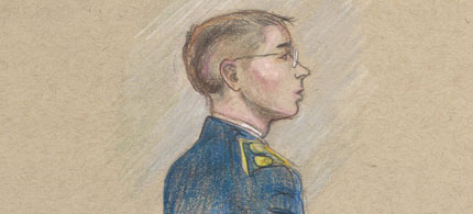 Pfc. Bradley Manning stands before a court-martial at Fort Meade, Maryland. (art: Kay Rudin/RSN)