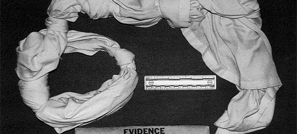 This undated photo released by the U.S. Army on June 4, 2013 shows a noose made from a bedsheet by Pfc. Bradley Manning while he was detained in Kuwait shortly after his arrest in 2010. (photo: U.S. Army/AP), From ImagesAttr
