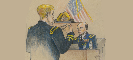 Courtroom sketch from day three of the Bradley Manning trial. (art: Kay Rudin)
