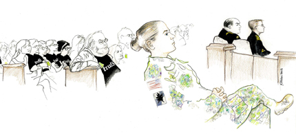 View of the courtroom on Day 1 of Bradley Manning's court-marshal. (artwork: Kay Rudin)