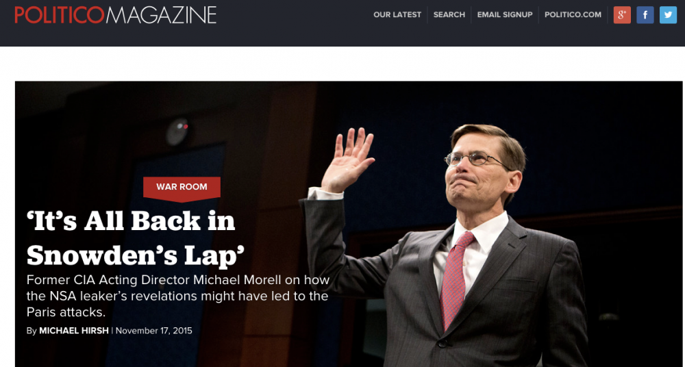 Snowden headline from Politico Magazine. (photo: The Intercept)