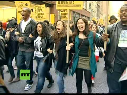 CUNY students protesting tuition rate hikes (2011).  A continuing history of resistance. (photo: RT)