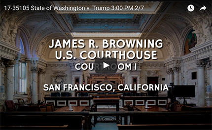 State of Washington v. Trump, 3:00 PM, 2/7 in San Francisco, California. (photo: United States Court for the 9th Circuit)